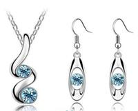 مجموعة جديدة من الأزياء كريستال قلادة أقراط المجوهرات أسعار الجملة الأزياء كريستال مجموعات المجوهرات بالجملة