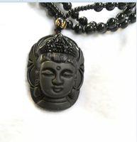 Collar de obsidiana natural moda negro ruyi guan yin colgante para mujeres hombres vintage fino jade joyería ornamentos D2