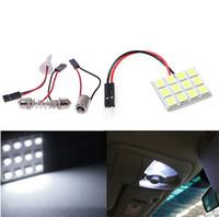 200Set / Lot Pure White 12 5050 SMD LED CAR Light Panel T10 Dome Bulb BA9S Adapter DC 12V Gratis frakt