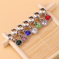 HOT SALE: 100pcs / lot 7 Farben DIY Kristallrhinestone-rundes baumeln Korn passender Charme-europäisches Armband