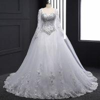 2019 cristais strass bling vestido de casamento manga longa querida uma linha vestidos de noiva com o trem watteau