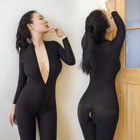 Kadınlar Açık Kasık Termal Şeffaf bodysuit Crotchless Çift Fermuar Uzun Kollu toptan Siyah Çizgili Şeffaf Bodystocking seksi İç