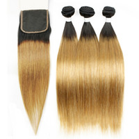 Colored Malaysian Ombre Human Hair Silky Straight T1b 27 Dar...
