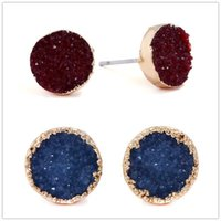 Fashion gold plated geometry Round earrings Imitation stone ...