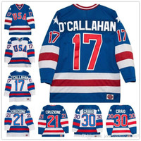 Commercio all'ingrosso 17 Jack O'callahan 30 Jim craig 21 Mike Eruzione 1980 Olimpico The Miracle Movie Team USA Hockey Jersey Tutti cuciti