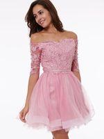 2018 새로운 바투 넥 하프 슬리브 아플리케 레이스 업 동창회 드레스 저렴한 얇은 명주 미니 칵테일 드레스