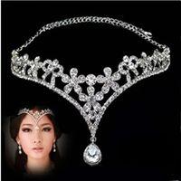 Crystal Bridal Headpiece Chain Wedding Rhinestone Water drop Flower Tiara Crown Headband Frontlet Gioielli per capelli damigella d'onore