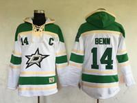 최고 품질 ! 2016 달라스 별 Old Time 하키 유니폼 14 Jamie Benn White 미네소타 North Stars 까마귀 풀오버 스웨터 겨울 자켓