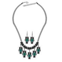 Senhoras da moda Conjuntos de Jóias Coruja Do Vintage turquesa declaração colares brincos conjunto de jóias para as mulheres por atacado à venda