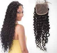 Unprocessed human hair lace closure peruvian deep wave deep ...