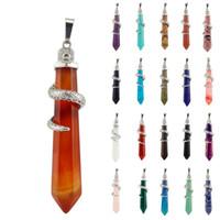 23 couleurs pierre naturelle colonne hexagonale pendentif améthyste gemstone collier pendentif cristal naturel pierre snake pendentif haches-A108