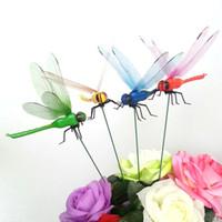 Simulation bunte Fee Libelle auf Sticks Ornament Hausgarten Vase Rasen Kunst Handwerk Dekor Halloween Dekoration