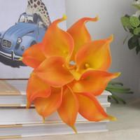 Vintage Yapay Çiçekler 20 Adet / grup Mini Mor Beyaz Calla Lily Buketleri Gelin Düğün Buket Dekorasyon için Sahte Çiçek