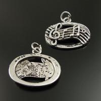 Vintage Style Atq Silber Oval Music Staff Charm Music Note Anhänger G Clef 40pcs Schmuckherstellung
