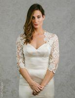 Nouvelle Arrivée 2021 Bridal wraps 3/4 manches Manteau de mariée vestes de dentelle de mariage Capes de mariage enveloppements Bolero Veste Robe de mariée wraps Plus Taille