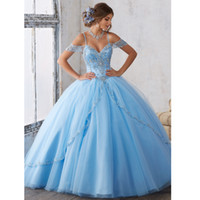 Sky Blue Beaded Quinceanera Dresses Off The Shoulder Corset ...