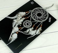 2 Circles Gray Dream Catcher Net With Feathers Beads Handmad...