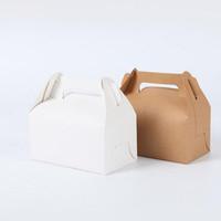 Kraft Boîte De Papier Blanc Emballage Avec Poignée Coupe Gâteau Coffrets Cadeaux Macaron Cupcake Décoration De Mariage ZA4515