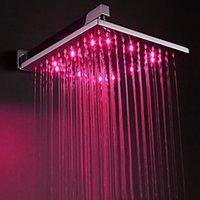No necesita batería Colorido LED Cabezal de ducha Rociador 300x300mm Sensor de temperatura 3 baño de cambio de color led de iluminación del grifo