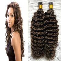 I ucu Saç Uzantıları Brezilyalı Kinky Kıvırcık 100g 100s # 4 Koyu Kahverengi Önceden Yapıştırılmış Saç Hayır Remy İnsan Saç Uzantıları