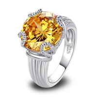 Commercio all'ingrosso libero libero 7 dell'anello di modo d'argento placcato oro bianco 18K citrino giallo dorato 18K dei monili di vendita diretta della fabbrica