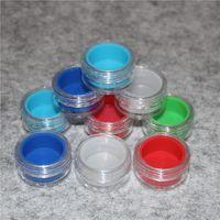 cores múltiplas 3 ml 10 ml recipientes de concentrado de cera transparente acrílico, recipiente de Plástico com silicone interno Non-stick Silicone Dab Frascos De Armazenamento