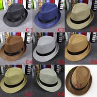 Vogue femmes et hommes paille panama chapeaux et taille d'été mode été fedora radin soudre de bronzer chapeaux parents chapeaux 8 couleurs