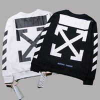 Off White Seeing Things Sweatshirt Stripes Arrows Print Crew Neck Pullover Sweater Homens Branco Preto Hip Hop Hoodie Oversized Club Top PXG0918