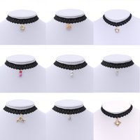Choker Necklace Pandents Statement Black Velvet Pearl Neckla...