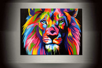 Dazzle color lion painting pictures arte abstracto Quality Giclee Print Canvas poster prints de pintura, Modern Living Room Home wall Art Decor