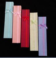 Taille 4 * 21cm 24pcs / lot Papier dur Bijoux Collier Bijoux Boîtes d'emballage Emballage / Paquet / Affichage Affichage Affichage Box Box Bins avec Bowknot