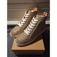 Brand Red Bottom High Top Sneakers Gold Glitter Red Sole Cas...