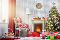 White Brick Wall Fireplace Photography Backdrops Red Curtain...