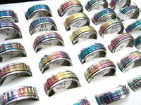 Großhandel Massenlosen 50 stücke Regenbogen Farbe Edelstahl Schneidespinner Modeschmuck Ringe Brand New Los