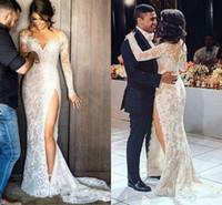 2016 Sexy Steven Khalil Full Lace Split Mantel Brautkleider mit Langarm Illusion Zurück Arabisch Brautkleider