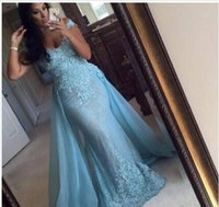 Elegant Sky Blue Evening Dress Detachable Train 2016 Vestido...