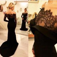 Robes de soirée élégantes sirène noire Sexy sur l'épaule en dentelle robes de bal à manches longues pure Satin balayage train robes de soirée