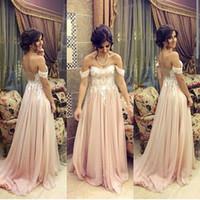 Arabo 2017 Off The Shoulder Chiffon Prom Dresses Lunga Economici Illusion Indietro Del Merletto Increspato Abiti Da Sera Formale Su Ordine EN8248