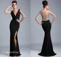 Черное вечернее вечернее платье высокого качества сексуальная глубокая V-образная шея боковая щель с длинными рукавами с бисером выпускного вечеринка платье формальное платье