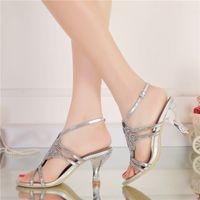 16b4a297985 Sandalias de tacón de tobillo Zapatos de tacón alto con punta abierta  Zapatos de novia nupcial de diamantes de imitación Más Tamaño Zapatos de  baile de ...