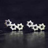 Küpe Kızlar / Bayanlar S925 Gümüş Sterlini 3 Oymak Yıldız Damızlık Küpe Kulak Çiviler Kulak Iğneler Bayan Takı