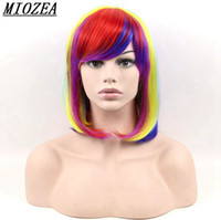 Hair Short Bobo Straight Hair Rainbow Multi- colour Synthetic...