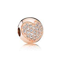 Yeni 18 k gül altın Big Hole boncuk damla Retro Oval / aşk şekli elmas cam kristal gümüş boncuk DIY Pandora Bilezik takı