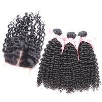 Kinky Curly Hair Extension Bundles 3pc With 1pc Middle Part Lace Closure 4x4 100% Peruvian Human Hair With Closure Natural Color 4pc