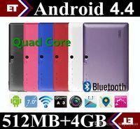 7 인치 A33 쿼드 코어 태블릿 Allwinner 안드로이드 4.4 KitKat 용량 성 1.5GHz DDR3 512MB RAM 4GB ROM 듀얼 카메라 WIFI