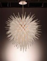 Современные Матовый белый выдувное стекло люстры свет Уникальный конструктор Европейский Стиль Art Crystal Люстра для украшения для спальни