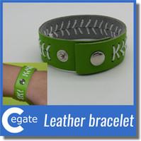 Pulseira de couro ou Softball esporte pulseira com costura vermelha e fecho de pressão pulseira de jóias de esportes
