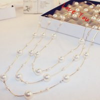 Multilayer Pearl Necklace Korean Brand Designer Long Neckalc...