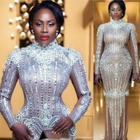 2021 sexy elegan sirena a manica lunga perline completa Plus Size Sliver Designer Prom Arabo Abiti da sera formale
