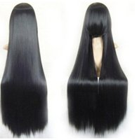 Z&F Synthetic Wigs Straight Black Long Hair Wigs 100CM Natur...